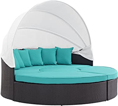 Modway Convene Wicker Rattan Outdoor Patio Retractable Canopy Round Poolside Sectional Sofa Daybed with Cushions in Espresso Turquoise