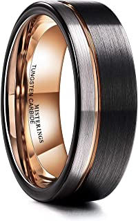 MISTERINGS Silver & Black 8mm Men Tungsten Carbide Wedding Rings Rose-Gold Line Matte Comfort Fit Band
