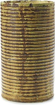 Benzara BM180722 Ceramic Tall Square Ribbed Design Vase Copper