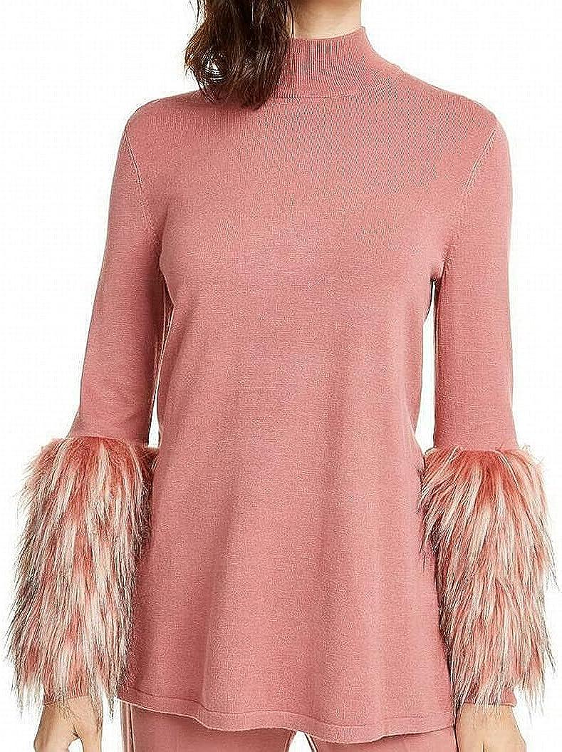Alfani Womens Fur Cuff Ribbed Trim Pullover Top Pink L
