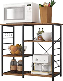 soges Multi-Layers Kitchen Baker's Rack Utility Microwave Oven Stand Storage Cart Workstation Shelf Coffee Cart, Rustic Br...