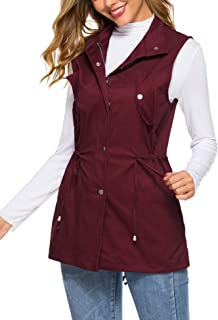 Women's Zip Up Drawstring Sleveeless Jacket Military Vest Outerwear w/Two Pockets
