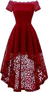 Women's Lace Off Shoulder Cocktail Hi-Lo Bridesmaid Swing Dress