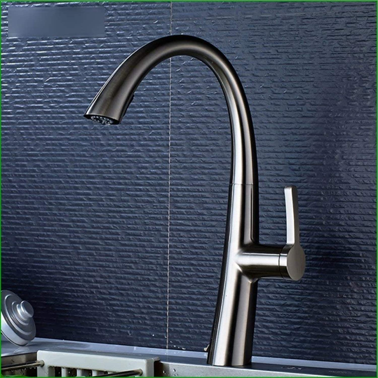 LGSYSYP Bathroom accessories European family kitchen all copper nickel wire brushed sink sink can be redated pull faucet hot and cold water mixed single chain sink faucet towel towel rack