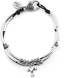 Lucy Anklet w Cross Heart Charm in Natural Black Leather Silver Plate Crescents Freshwater Pearls