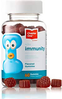 Chapter One Immunity Gummies, Elderberry, Zinc and Vitamin C, Certified Kosher (60 Flavored Gummies)