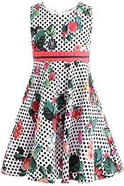 Girls Skater Plain Long Sleeve Summer Swing Dress Bolero Bow Dresses Ages 2-13