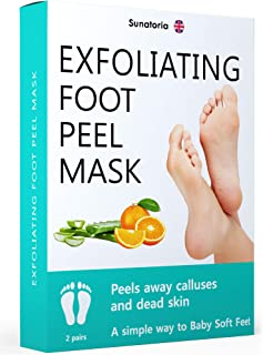 Improved Formula Exfoliating Foot Peel Mask by Sunatoria - Makes Your Feet Baby Soft - Peeling away Calluses and Dead Skin Remover - Repair Rough Heels with Baby Soft Feet Gel Socks Booties.
