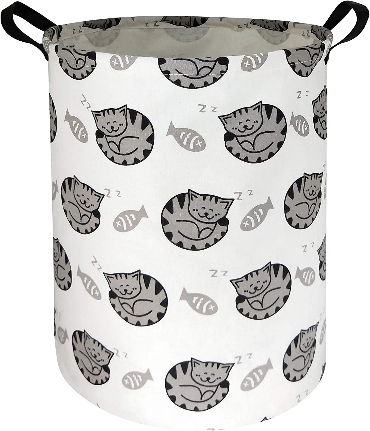 HIYAGON Large Storage Baskets,Waterproof Laundry Baskets,Collapsible Canvas Basket for Storage Bin for Kids Room,Toy Organizer,Home Decor,Baby Hamper(Fish & Cat )