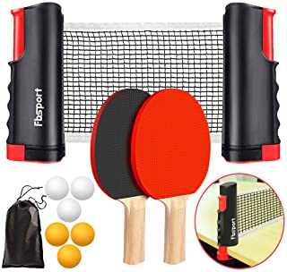 FBSPORT Ping Pong Paddle Set, Portable Table Tennis Set with Retractable Net, 2 Rackets, 6 Balls and Carry Bag for Children Adult Indoor/Outdoor Games