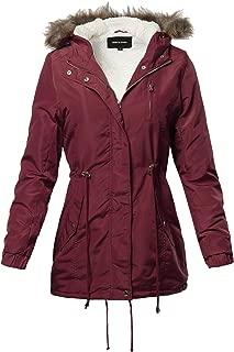 Made by Emma Hooded Warm Long Coats Faux Fur Fleece Lined Parka Outdoor Jackets Burgundy M
