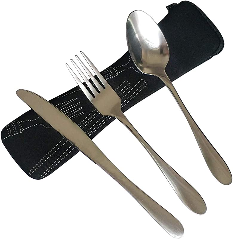 3 Piece Stainless Steel Flatware Set Knife Fork Spoon Travel Camping Outdoor Picnic Cutlery Set With Soft Neoprene Case Reusable Lunch Box Utensils Portable Travel Silverware Set Black