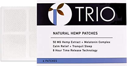Trio - New Sleep Aid Patch - Great Sleep Supplement for Insomnia to Ensure a Restful Night of Sleep - Broad Spectrum - 50 MG Hemp Extract - 6 Patches x 50mg Each (300mg Total)