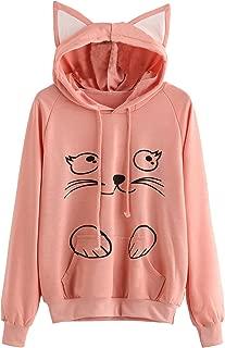 Women's Long Sleeve Kangaroo Pockets Slogan Letter Print Cute Cat Ear Pullover Hoodie