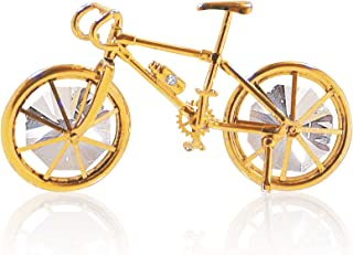 MASCOT 24K Gold Plated Bicycle with Crystal Embedded Ornament  Best Gift for Father's Day Birthday House Warming and Hanging Ornament
