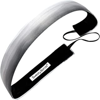 Sweaty Bands Womens and Girl Headband - Non-Slip Velvet-Lined Workout Hairband - Watercolors Gray 1-Inch