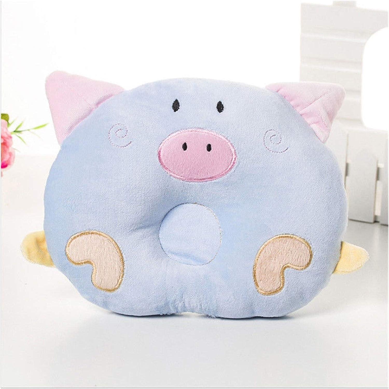 WanXingY Babykissen Unisex Korrektur reines Baumwollkissengeschenk Baby Neugeborenes Weiche Karikatur Schwein Kopfformkissen Farbe : Blau