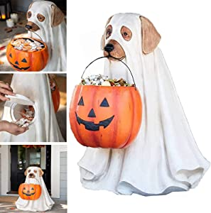 Ghost Dog Candy Bowl Holder with Life Size, Halloween Pumpkin Snack Bowl Stand, Halloween Candy Bowl Large Pumpkin Candy Dish, Trick Or Treat Indoor Outdoor Halloween Party Decorations Gifts -A