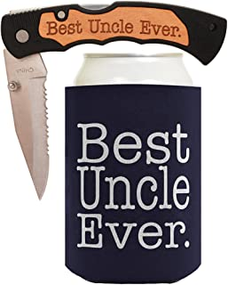 ThisWear for Dad Knife Gift for Grandpa Gift for Papa Best Ever Best Buckin' Laser Engraved Folding Pocket Knife with Funny Beer Coolie Gift Set