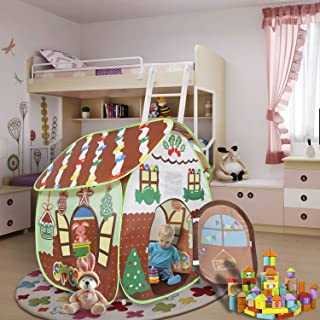 ALPIKA Kids Play Tent for Children Toddler Toys Indoor Outdoor Play for 3 4 5 6 7 Years Boys Girls (Gingerbread Playhouse)