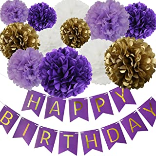 Happy Birthday Party Decoration Kit Purple Happy Birthday Banner With Purple Tissue Paper Pom Poms Paper Flowers