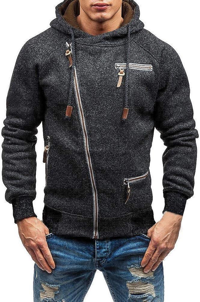MODOQO Men's Long Sleeve Zipper Hoodies Pullover Sweatshirt Cotton Coat Outwear