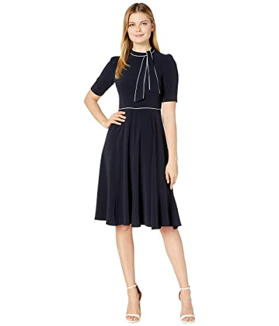 Donna Morgan Short Sleeve Lightweight Fit-and-Flare Contrast Tie Neck Dress (Marine Navy/Ivory) Women