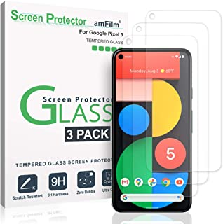 amFilm Pixel 5 Screen Protector Glass Film (3 Pack), Case Friendly (Easy Install) Tempered Glass Screen Protector for Goog...