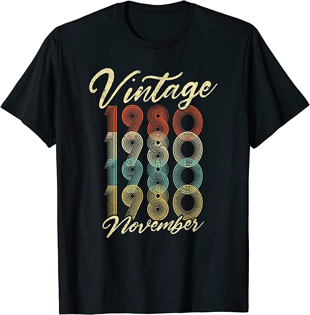 40th Birthday Gift Vintage November 1980 Forty Years Old T-shirt