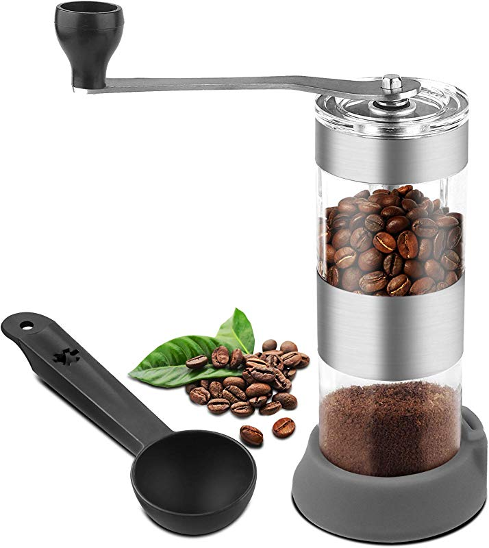 Manual Coffee Grinder With Adjustable Setting Portable Coffee Grinder Conical Ceramic Burr Mill For Camping Travel Picnics
