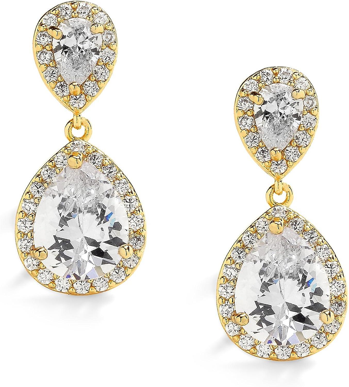 Mariell Petite 14K Gold Plated Clip On Dangle Earrings - Pear Shaped CZ Bridal Wedding Earrings for Women