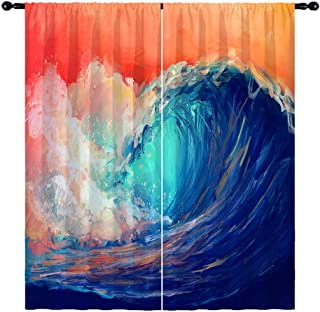 ANHOPE Abstract Curtains, Rod Pocket Art Curtains Decorated with Sea Waves and Sunset Pattern, Watercolor Oil Painting Sty...