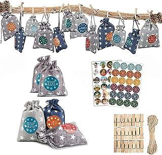 SunnyLi 2020年 新年のクリスマス アドベントカレンダー コットンリネン ギフトバッグ カレンダーバッグ (1-24のアドベント番号ステッカー付き) ハンギング式 カウントダウン式アドベントカレンダーバッグ