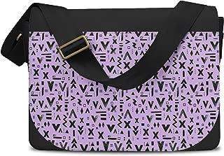 Inked Geometric Symbols Lilac - One Size Messenger Bag - Messenger Bag