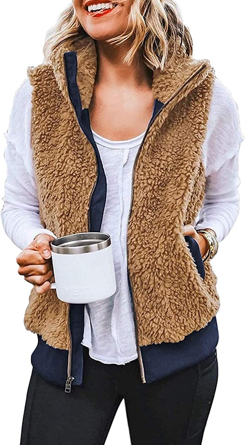 ReachMe Womens Genuine Free Shipping Sleeveless Fleece Vest Pockets Sherpa Max 75% OFF with Fuzzy