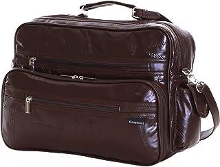 Slimbridge Kamen Leather Cabin Hand Luggage Travel Shoulder Bag, 8.5 Litre Capacity, Brown
