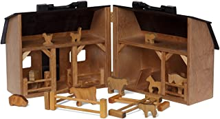 Wooden Folding Toy Barn and Farm Animal Set, Amish Made