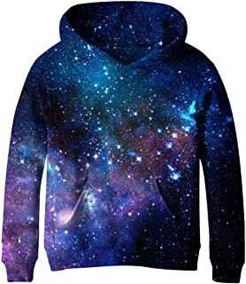 SAYM Teen Boys' Galaxy Fleece Sweatshirts Pocket Pullover Hoodies 4-16Y