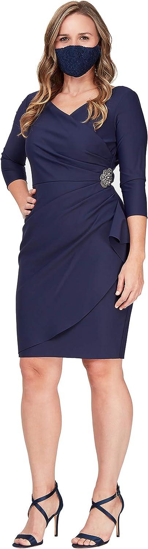 Alex Evenings Women's Slimming Short Sheath 3/4 Sleeve Dress with Surplus Neckline