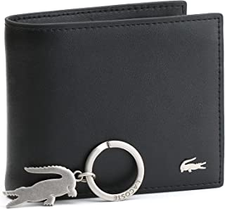 محفظة لاكوست للرجال مع طبقتين، وسلسلة مفاتيح معدنية