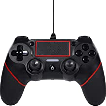 Best Sefitopher PS4 Wired Controller for Playstation 4/pro/Slim/PC/Laptop with Functions Such as Vibration, Colored LED Indicator, Double Vibration and Anti Slip Grip,6.5ft Cable Length (Black Red) Review