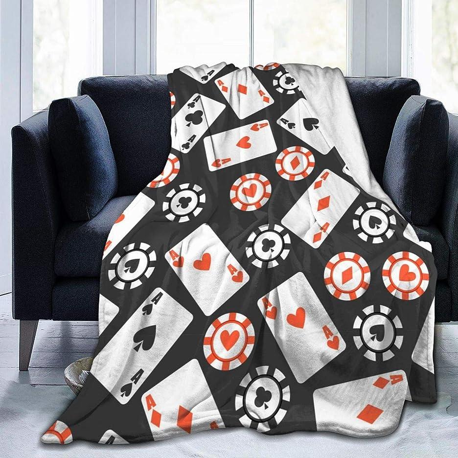 ベーコン遺伝子面白いトランプ 総柄 カード 毛布 掛け毛布 ブランケット シングル 暖かい柔らかい ふわふわ フランネル 毛布 三つのサイズ