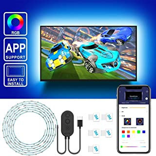 "TV Backlights with APP, Govee 6.56FT RGB Neon Strip Lights 5050 TV Lights Kits, Multi DIY Color Accent Lights with 3M Tape and 5 Clips, Adjustable Brightness and USB Powered (40""-60"")"