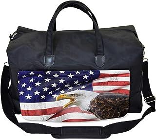 Ambesonne American Flag Gym Bag, Bald Eagle, Large Weekender Carry-on