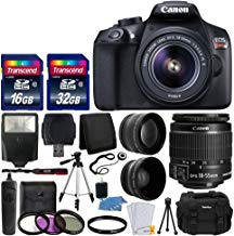 Canon EOS Rebel T6Cámara réflex digital con lente 18–55mm f/3.5–5.6EF-S IS II lente + lente gran angular + 2x Teleobjetivo de 58mm + Kit de Flash + 48GB SD tarjeta de memoria + Filtro UV + Trípode + Full accesorio combo