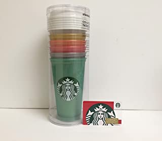 Starbucks Reusable Tumbler/Cup Grande 16oz Christmas Holiday 2018 Collection Set Of Different Colors W/Lids and a Bonus Free SB Red Siren Mermaid Gift Card - ZERO balance Bundle