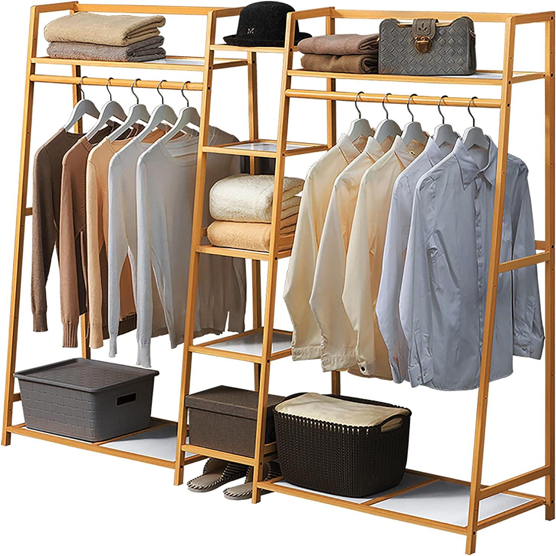 LJHSS Bamboo Bombing new work Garment Rack 5 Tier Under blast sales Portable Storage Shelves W