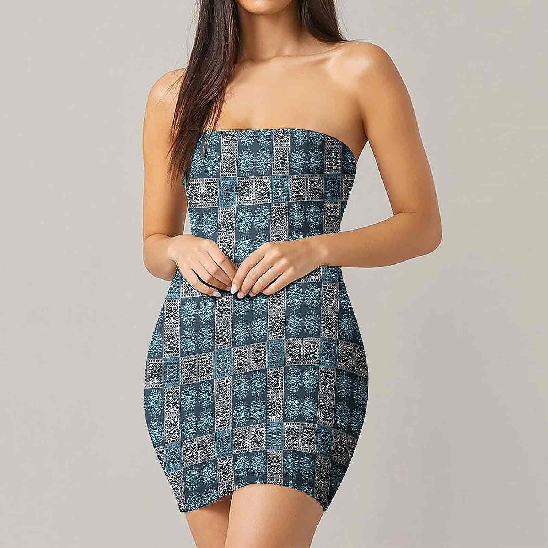 Women's Summer Strapless Dresses Nostalgic Zigzag Line Dresses