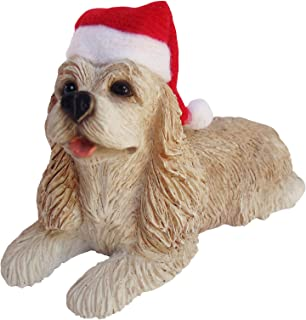 Sandicast Buff Cocker Spaniel with Santa Hat Christmas Ornament