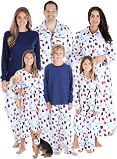 Matching Family Christmas Pajama Sets, Blue Flannel
